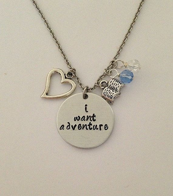 "3-day sale 25% taken off no coupon needed!! Disney inspired Beauty and the Beast necklace ""i want adventure"" Belle hand stamped necklace"