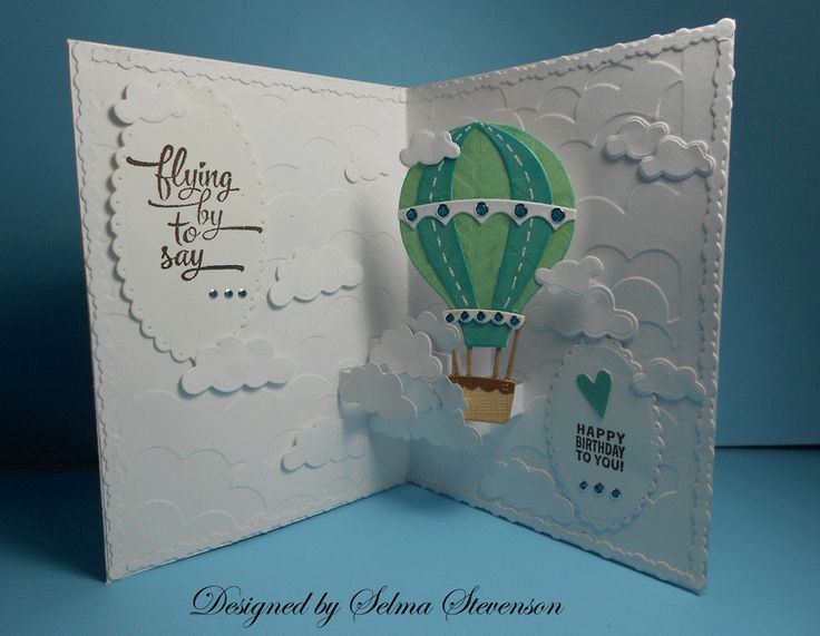 258 best CARDSHot Air Balloon images – Interactive Birthday Card