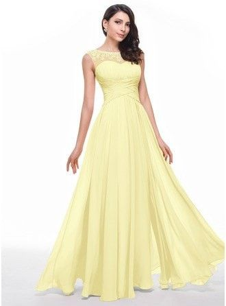 A-Line Princess Scoop Neck Floor Length Chiffon Prom Dress With Ruffle Beading Flower S 018056791 g56791