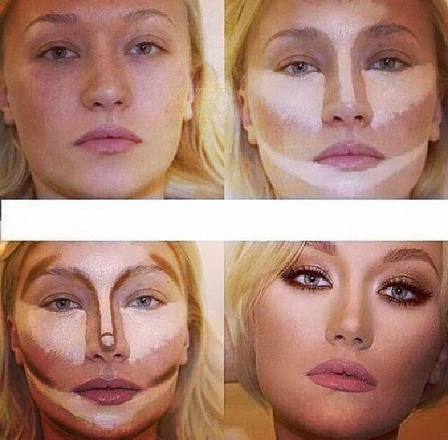 The best face contouring for a square I have found.