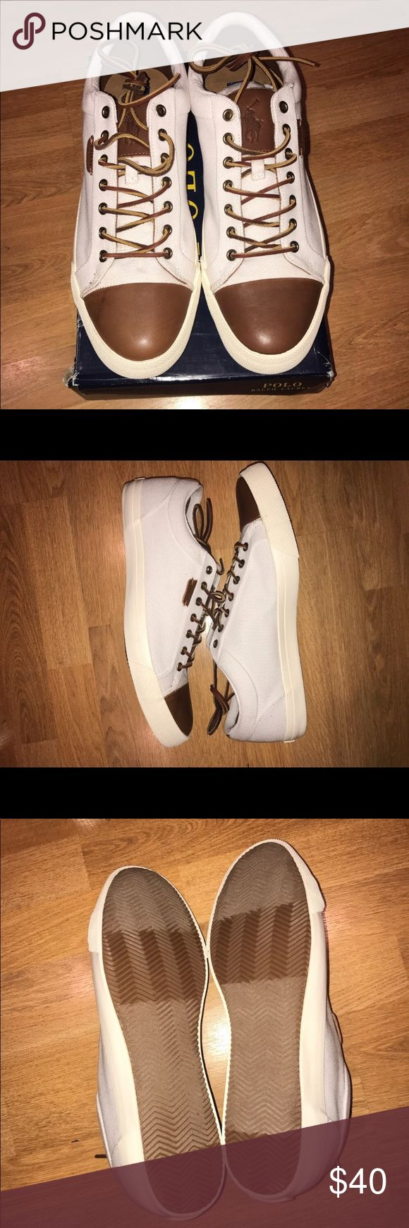 Polo Ralph Lauren men's size 13 shoes Brand new White and brown mens shoes Polo by Ralph Lauren Shoes Sneakers