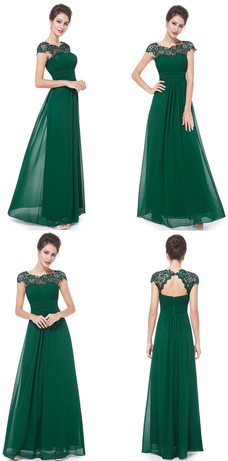 Best 25 green chiffon dress ideas on pinterest green sleeved a line bateau cap sleeves open back dark green chiffon bridesmaid dress with lace ombrellifo Gallery