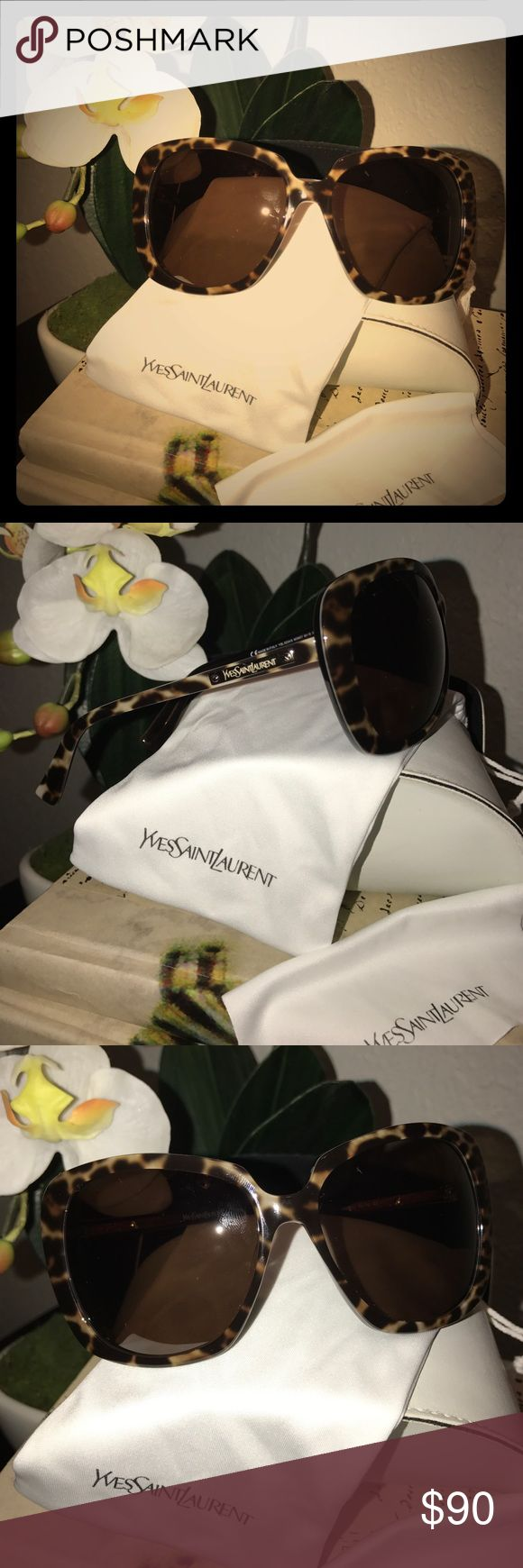 Authentic Yves Saint Laurent Tortoise Sunglasses Like new YSL Brown Tortoise sunglasses. Good for smaller faces, a bit narrow. Comes with pouch, cleaning cloth and white case. Case has marks. Yves Saint Laurent Accessories Sunglasses