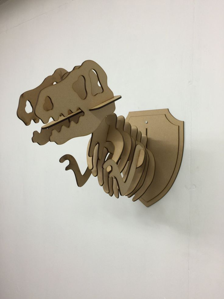 L s wooden t rex animal trophy animal head 3d jurassic for Animal head wall decoration