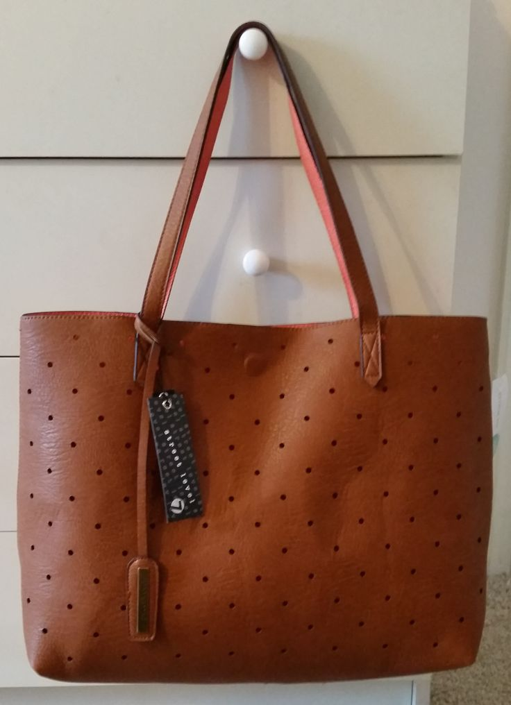 February 2016 Stitch Fix Street Level Hanson Reversible Dot Tote (Cognac) https://www.stitchfix.com/referral/4371189 #StitchFixSpring #StreetLevel #Tote