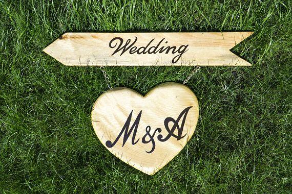 Rustic Wedding Sign | Wedding Arrow & Heart Sign | Wood Wedding Sign | Custom Sign for Weddings | Direction Wedding Sign