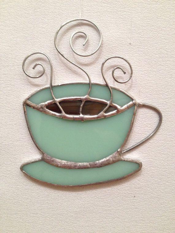 stained glass ornaments | Stained Glass Ornament - Coffee Mug. I need this as a night light ...