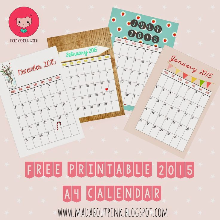 #Papercraft #Calendar | #Planner- #Papercrafting - 2015 FREE Printable A4 Calendar - Must have if you are a stationary mad | Mad About Pink