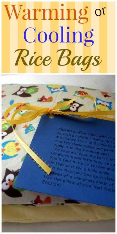 Warming or Cooling Rice Bags - makes a great baby gift or for your own personal use for freezing or warming. http://saving4six.com/2014/09/warming-or-cooling-rice-bags.html
