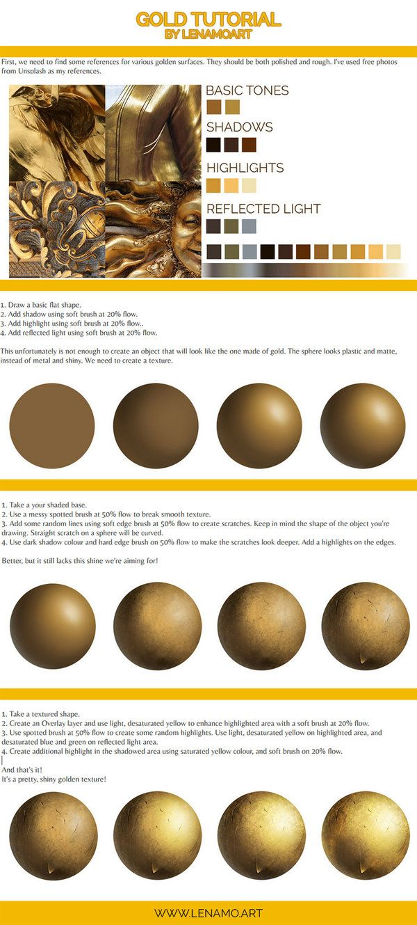 How To Paint Gold Tutorial By Lenamoart Digital Painting Tutorials Gold Digital Art Digital Art Tutorial