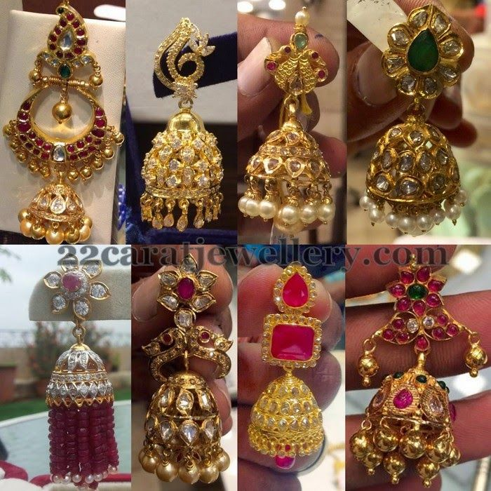 Jewellery Designs: Uncut Diamond Jhumkas Gallery