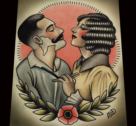 Close Shave Barbering Tattoo Print by ParlorTattooPrints on Etsy, $28.00