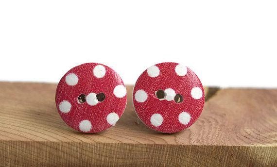 Pin up inspired red polka dot earrings