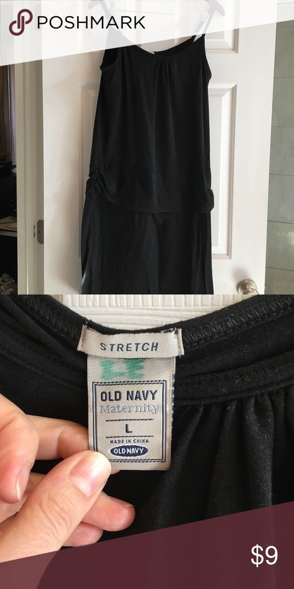 Black old navy maternity dress size large. Cotton Very soft and comfortable summer maternity dress. Black so it is flattering. Adjustable straps.  Prepilling but no stains or flaws. Good used condition.  Great for those hot summer days. Old Navy Dresses Midi