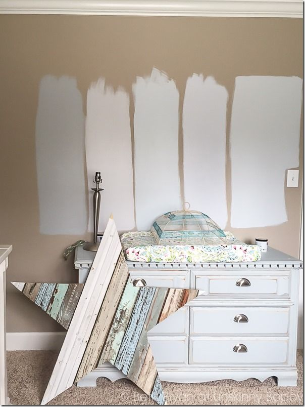 Baby Nursery in progress-- which paint color??   Starting from the left here are the color samples:  1. Classic Silver  2. Gentle Rain  3. Light French Grey  4. Manhattan Mist  5. Planetary Silver