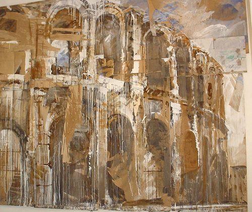 Valery Koshlyakov, l'amphithéâtre, technique mixte sur carton. 250 cm x 400 cm