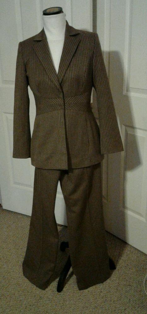 Liz Claiborne 2 Piece Pantsuit Sz 6 Brown Gold Stripe Lined Ladies Women'S | eBay