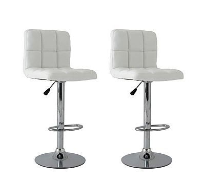 2x White PU Leather Full Grid Kitchen Bar Stools (AD)