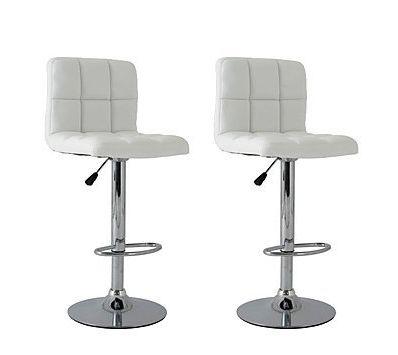 2x White PU Leather Full Grid Kitchen Bar Stools (AD)