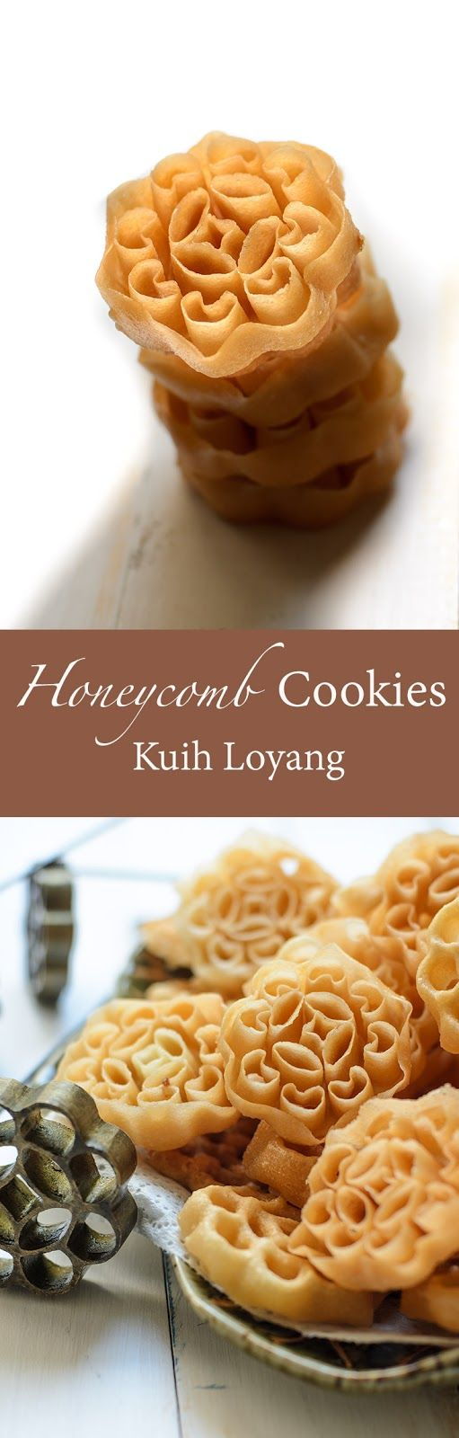 Honeycomb cookies also known as rose cookies, beehive cookies or kuih loyang (in Malay) is not actually cookies!