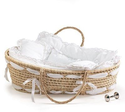 Moses Baskets 94931: Burton And Burton Natural Baby Moses Basket With White Lace Bedding -> BUY IT NOW ONLY: $90.28 on eBay!