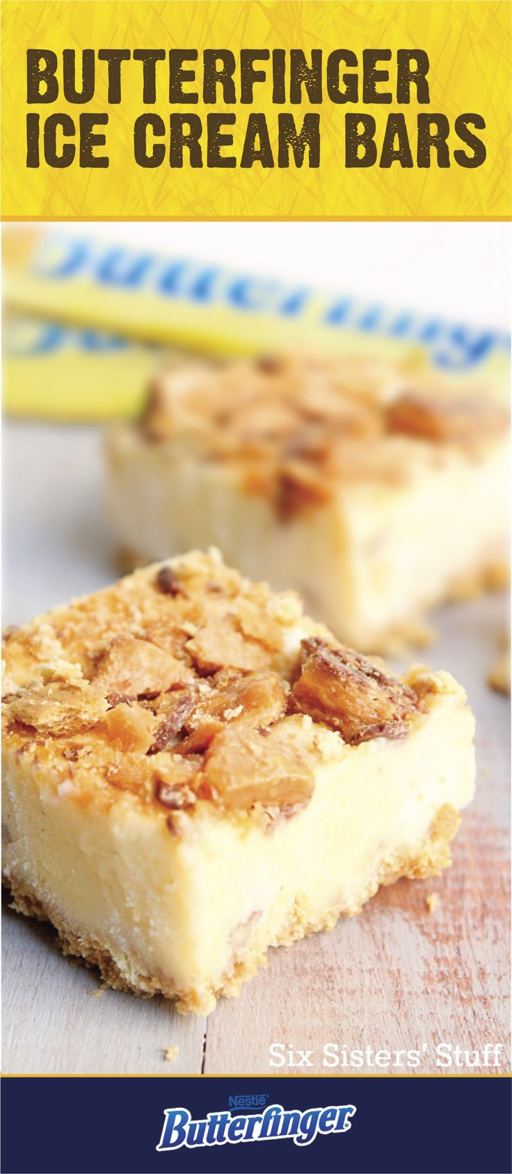 Cool off from the summer heat with a Butterfinger Ice Cream Bar. This sweet treat is a great recipe to serve at your next pool party. With every bite you take, you'll get the crispety, crunchety, peanut-buttery taste of a BUTTERFINGER® candy bar. Click here to learn more!