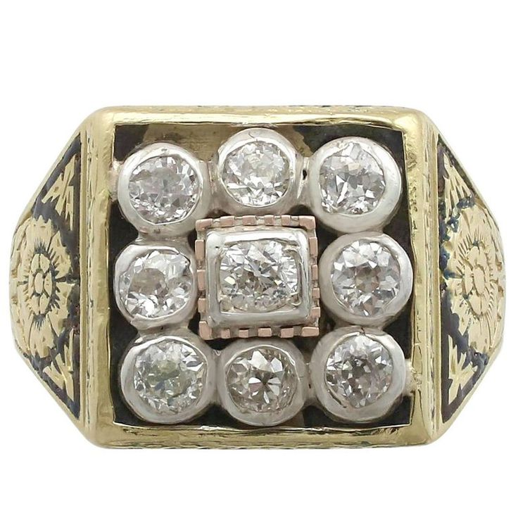 Victorian Diamond Yellow Gold, Silver Set Gents Ring | From a unique collection of vintage signet rings at https://www.1stdibs.com/jewelry/rings/signet-rings/