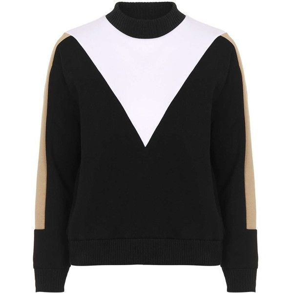 TOPSHOP PETITE Colour Block Sweat found on Polyvore featuring tops, hoodies, sweatshirts, topshop, multi, petite, high neck top, petite tops, color block top and color block sweatshirt