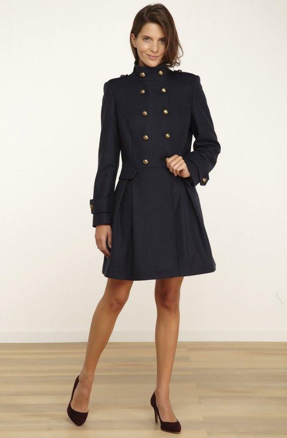 Manteau à plis avec boutons militaires  bleu marine - droits femme - naf naf 1