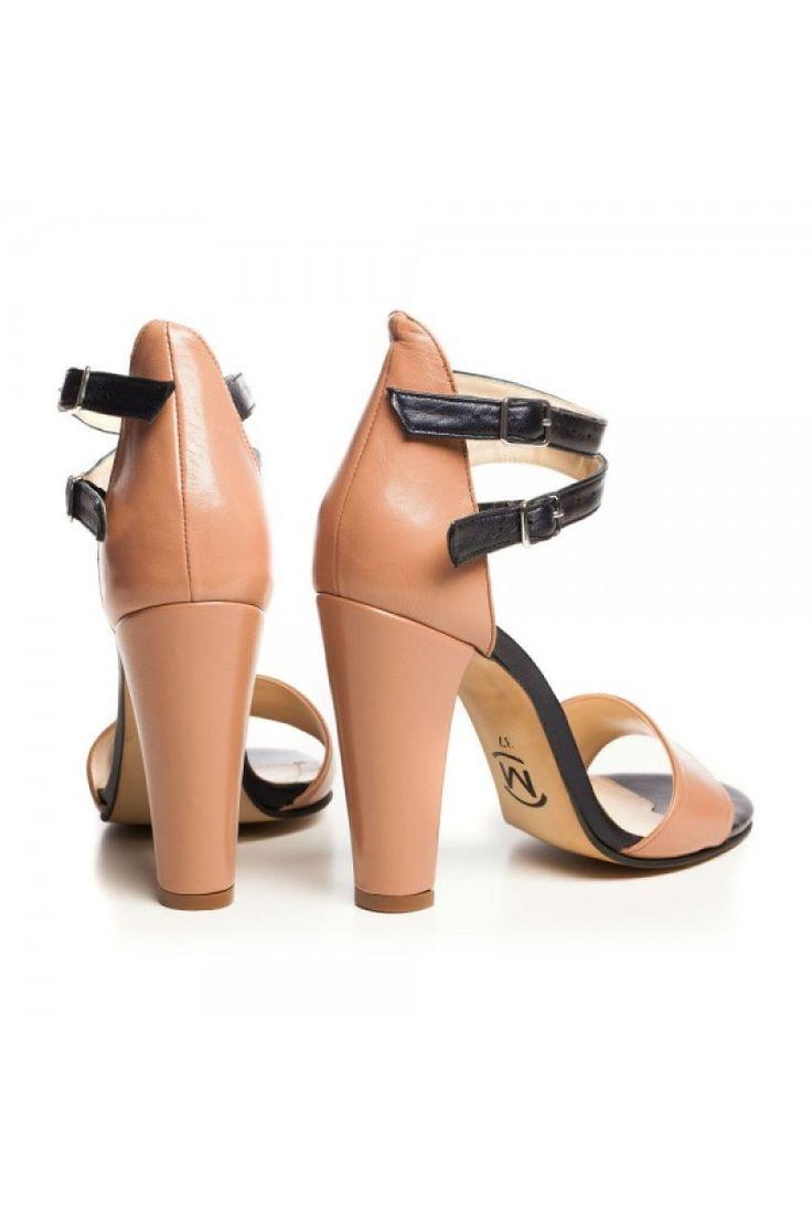 Sandale dama cu toc gros Cassandra piele naturala Incaltaminte