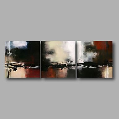 """Ready to Hang Stretched Hand-Painted Oil Painting 72""""x24"""" Three Panels Canvas Wall Art Modern Abstract Brown White Black 4674378 2016 – $161.58"""