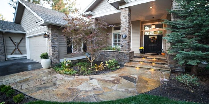 Brown and Gray Flagstone Walkway for Ranch Homes