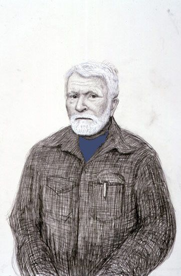 David Hockney<BR> R. B. Kitaj, Los Angeles. 5th November 1999, 1999<BR> pencil, gouache, white crayon on grey paper using camera lucida<BR> 22 1/4 x 15 in (56.5 x 38.1 cm)<br> 23 5/8 x 16 3/8 in (59.4 x 41.6 cm) (fr)<BR> Private collection