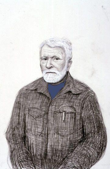 David Hockney<BR> R. B. Kitaj, Los Angeles. 5th November 1999, 1999<BR> pencil, gouache, white crayon on grey paper using camera lucida<BR> 22 1/4 x 15 in (56.5 x 38.1 cm)<br> 23 5/8 x 16 3/8 in (59.4 x 41.6 cm) (fr)<BR> Private collection