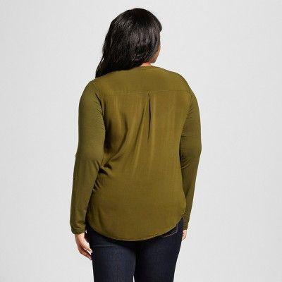 Women's Plus Size Mixed Media Popover Top - Ava & Viv Military Green 1X