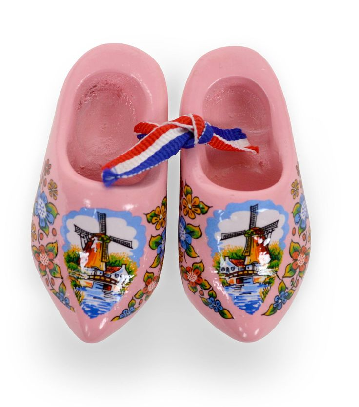 Pink Windmill Wooden Shoes Magnet