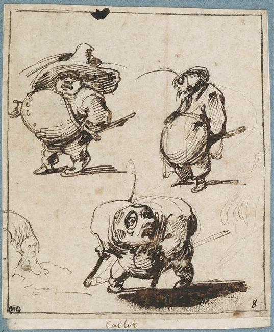 Jacques Callot | Trois caramiggi ou figures grotesques debout | Images d'Art