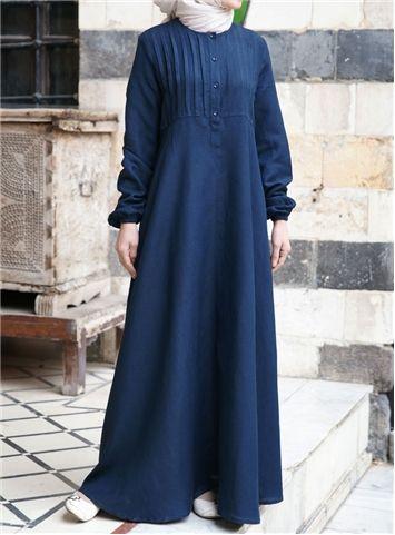 Linen Abaya with Tucks