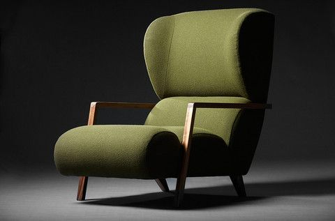 Papa Chair, with oak wooden arms in olive green wool.
