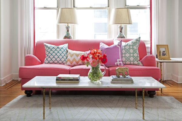 pink couch, patterned pillows, gold accents, living room inspiration // Caitlin Wilson Design NYC loft