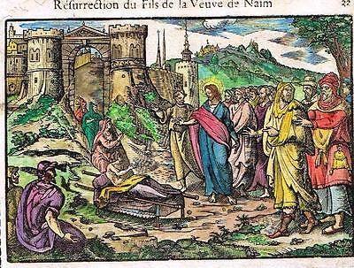 Leclerc's Bible - H/Col Woodcut - SON NAIM'S WIDOW RESURRECTED - 1614