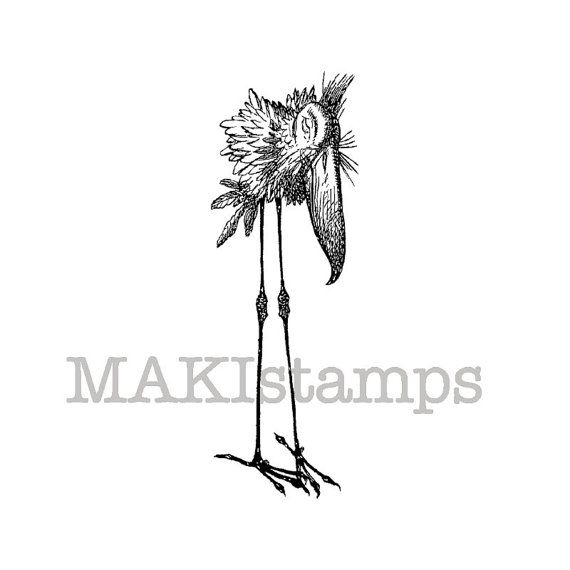Rubber stamp of a Bird standing / Unmounted rubber by MAKIstamps, €3.20