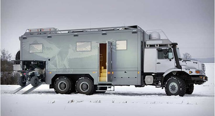 The Mercedes-Benz Zetros 6x6 is a mobile luxury penthouse that's built to conquer practically any terrain. Check out more of this burly RV inside.