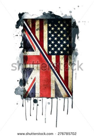 american flag/British flag/American and British flags/vintage flag illustration/T-shirt Graphics/cultural unification/vintage British and American flags illustration/canvas print/tattoo design