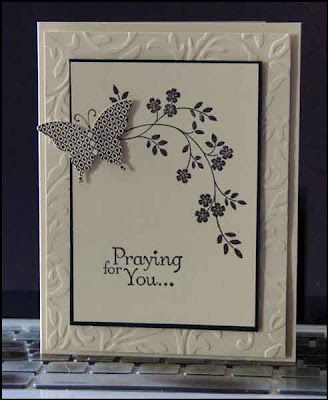 Altered Scrapbooking: Dynamic Duos Challenge 16, Sympathy Card -- SU Stamp set: Thoughts & Prayers, Papillon Potpourri and coordinating Elegant Butterfly punch