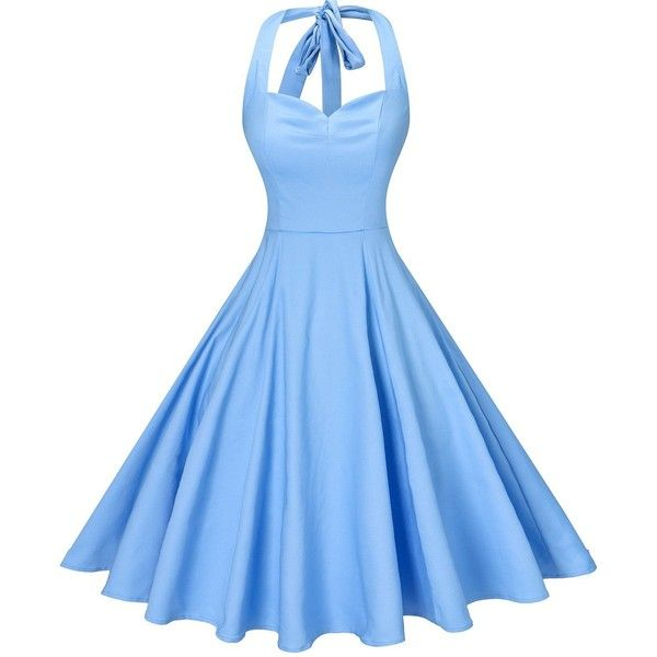 V Fashion Women's Rockabilly 50s Vintage Polka Dots Halter Cocktail... ($17) ❤ liked on Polyvore featuring dresses, blue polka dot dress, polka dot cocktail dress, halter top cocktail dress, vintage evening dresses and swing dress