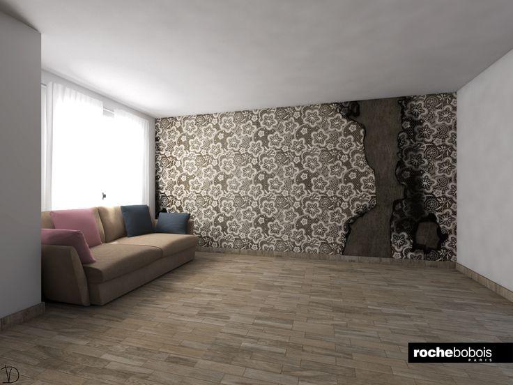 #Simulazione #carta da parati #Time con #divano #Agiorno by #Rochebobois