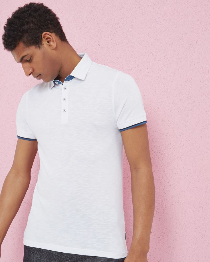 Woven collar polo shirt - White | Tops & T-shirts | Ted Baker UK