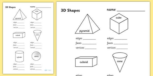 3D Shape Properties Worksheets