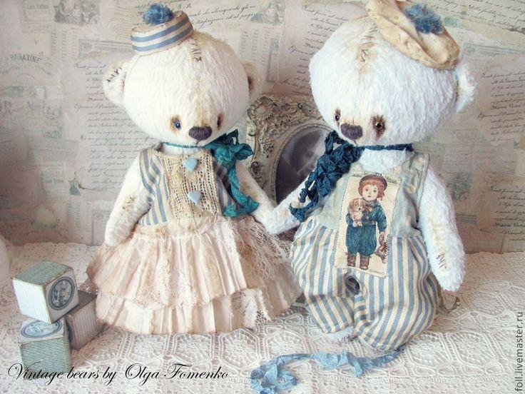 """Купить Мишка """"Морель"""" - мишка, тедди, винтаж, ретро, море, морской стиль, голубой, полоска"""
